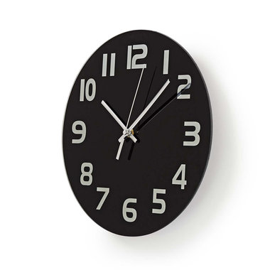 Ronde wandklok | Diameter 30 cm | Eenvoudig te lezen cijfers | Zwart