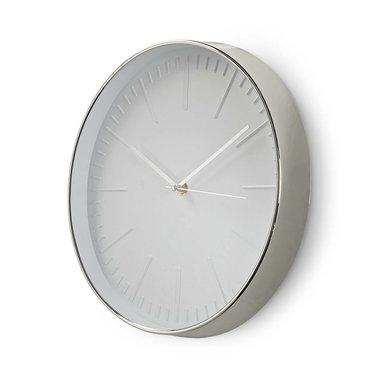 Ronde wandklok | Diameter 30 cm | Wit & zilver