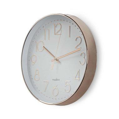 Ronde wandklok | Diameter 30 cm | Wit & metallic