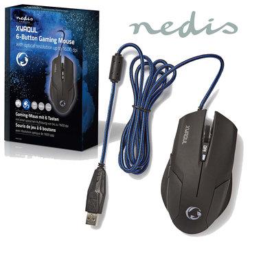 Gaming-muis | Met kabel | Verlicht | 1600 dpi | 6 knoppen