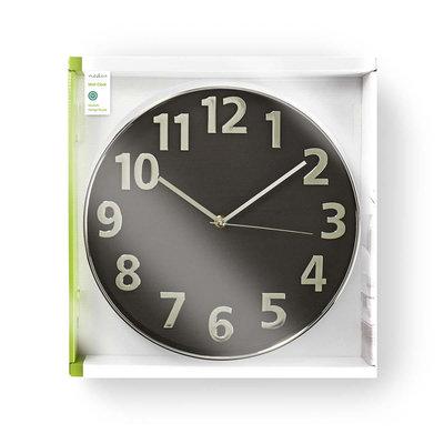 Ronde wandklok | Diameter 30 cm | Zwart & zilver