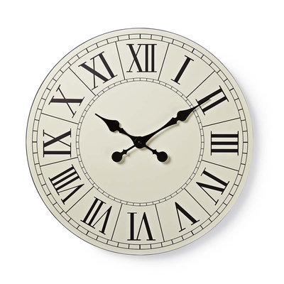 Ronde wandklok | Diameter 50 cm | Eenvoudig te lezen cijfers | Zwart & wit