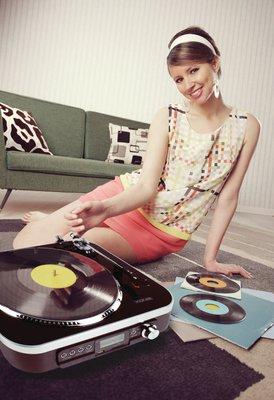 Platenspeler SD / LP / Radio 1.6 W Zwart - Speciale aanbieding