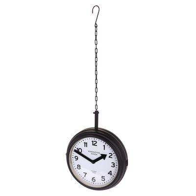 Zwarte Klok aan Ketting, Metaal, Ø 30cm