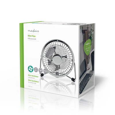 Metalen Miniventilator | Diameter 10 cm | Gevoed over USB | Chroom