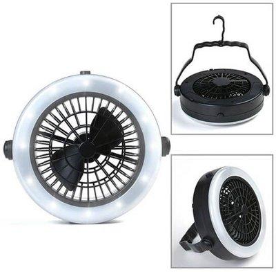 Ventilator met LED Verlichting - Met haak om te bevestigen aan plafond of tent