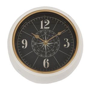 Wandklok Rond Metaal Kompas Crème/Messing